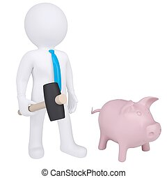 3d white man with hammer next to the piggy bank