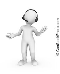 3d white man with headset in support center