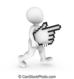 3d white man with mouse cursor