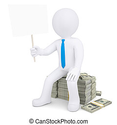 3d white man with placard sitting on pile of money