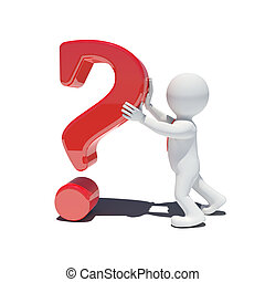 3d white man with question mark