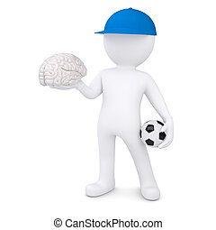 3d white man with soccer ball and the brain