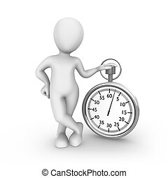 3d white man with stopwatch