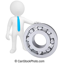 3d white man with the bearing. Isolated render on a white...