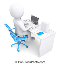 3d white man working at a laptop. On the table in a white...