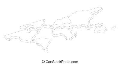 3D white map of World