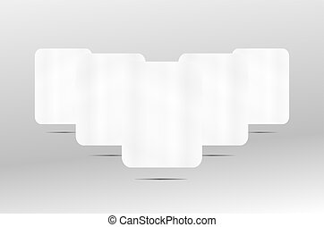 3d white paper blank frame set on background