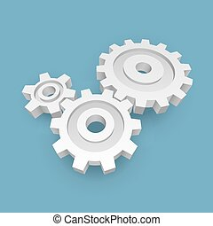 3D White Paper Gears Business Concept