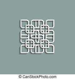 3d white pattern in arabic style