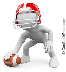 3D white people. American Football Player. Rugby