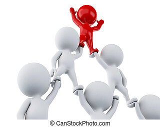 3d White people and red man leadership. Leadership and team work concept.