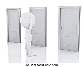 3d white people and three doors, doubtful. Choice concept - ...