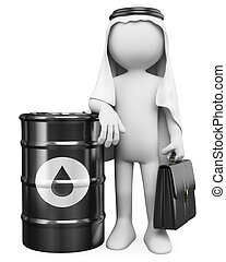 3D white people. Arab man with a barrel of oil - 3d white...