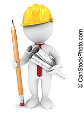3d white people architect, isolated white background, 3d ...