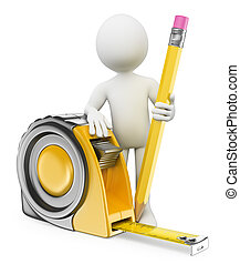3d white people. Architect with measure tape and pencil. Isolated white background.