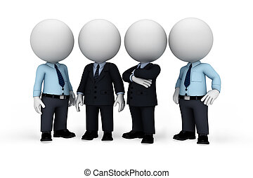 3d rendered illustration of white people as business man