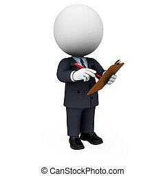 3d white people as business man - 3d rendered illustration...