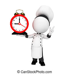 3d white people as chef with clock