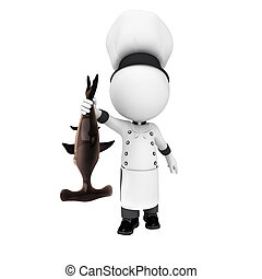 3d white people as chef with fish