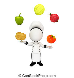 3d white people as chef with fruits