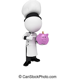 3d white people as chef with piggy