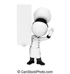 3d white people as chef with sign