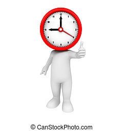 3d white people as clock