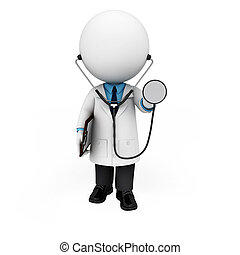 3d white people as doctor - 3d rendered illustration of ...
