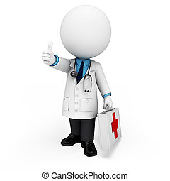 3d white people as doctor with box