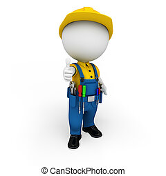 3d white people as plumber - 3d rendered illustration of ...