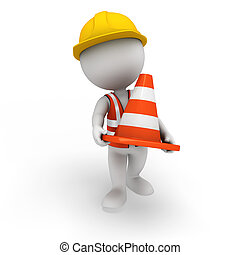 3d white people as worker with cone