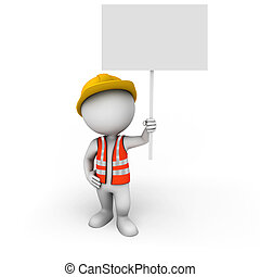 3d white people as worker with sign