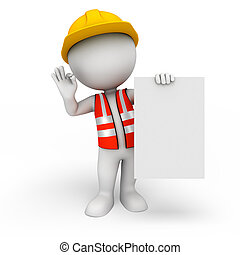 3d white people as worker with sign - 3d rendered ...