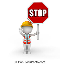 3d white people as worker with stop - 3d rendered...
