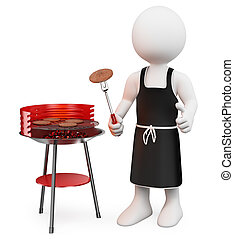 3d white people. Barbecue. Isolated white background.