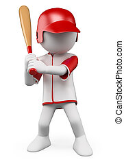 3D white people. Baseball Player