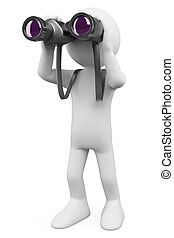 3d white person looking through a binoculars looking for something. 3d image. Isolated white background.