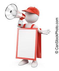 3D white people. Blank sandwich board man with a megaphone -...