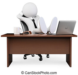 3d white business person resting at the office. 3d image. Isolated white background.