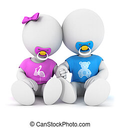 3d white people brother and sister, isolated white background, 3d image