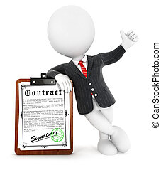 3d white people business contract