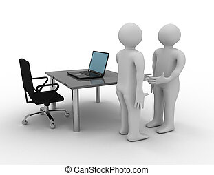 3D white people. Business deal . 3d rendered illustration