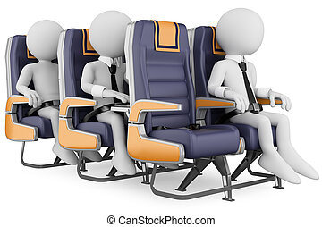 3D white people. Business people on a air travel - 3d white...