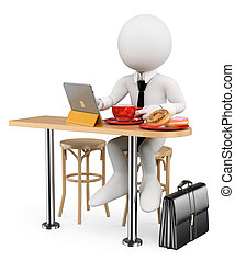 3D white people. Businessman breakfast with his tablet - 3d...