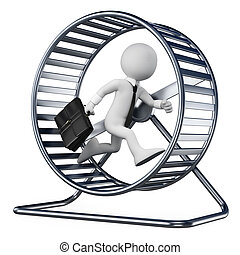 3D white people. Businessman in a hamster wheel - 3d white...