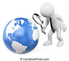 3D white people. Businessman looking at the earth with a magnifying glass