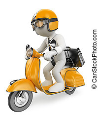 3D white people. Businessman on a moto scooter - 3d white...