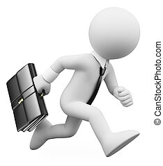 3D white people. Businessman running with a suitcase