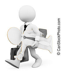 3D white people. Businessman seeking work concept - 3d white...