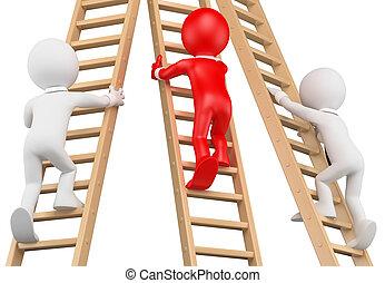 3D white people. Businessmen climbing a wooden ladder - 3d...